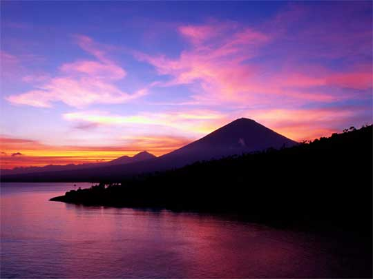 Sunset over Gunung Agung, Bali's highest and most revered mountain